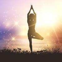 Yoga feminino contra um céu do sol vetor