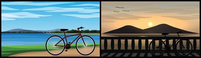duas imagens de uma bicicleta estacionada perto de um lindo lago natural vetor