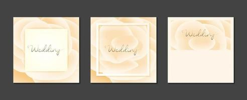cartões de convite de casamento mínimos com flores e cores suaves vetor