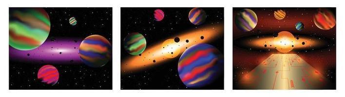 conjunto de três ilustração vetorial do espaço cósmico vetor