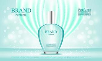 spray de perfume de luxo com ilustração de seda oscilante vetor