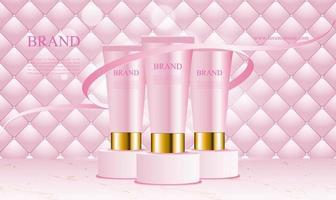 fundo rosa uphostery com produtos cosméticos pódio vetor
