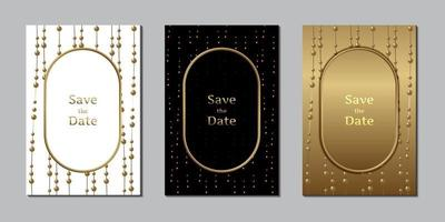 cartão de convite de casamento elegante modelo de design pérola e ouro vetor