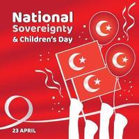 bandeira vermelha para a soberania nacional e o dia das crianças na Turquia vetor