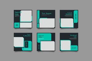 pacote de modelo de postagem de mídia social de marketing dinâmico vetor