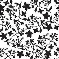 ramos de flores com folhas de desenho padrão sem emenda vetor