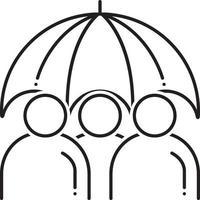 ícone de linha para seguro de vida em grupo vetor