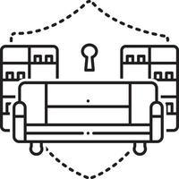 ícone de linha para seguro de recheio de casa vetor