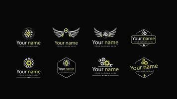 conjunto de logotipos de oficina mecânica em diferentes estilos com asas, chaves e engrenagens. vários logotipos de oficinas de automóveis vetor