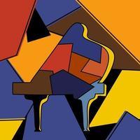 cubismo abstrato minimalismo piano pintura colorida estilo de arte. tema de instrumentos musicais. mão desenho instrumento clássico. o conceito de cartaz de música clássica. ilustração de desenho vetorial vetor
