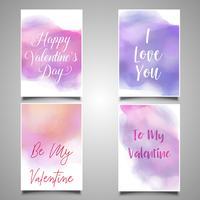 Cartões de dia dos namorados com desenhos de aquarela vetor
