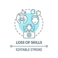 ícone do conceito de perda de habilidades vetor