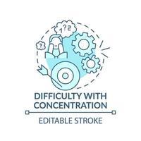 dificuldade com ícone do conceito de concentração vetor
