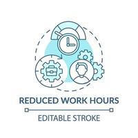 ícone do conceito de horas de trabalho reduzidas vetor