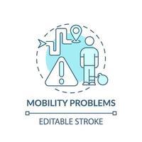 ícone do conceito de problemas de mobilidade vetor