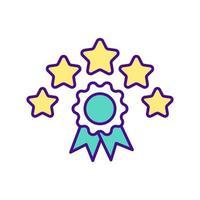 ícone de cor de certificado de cinco estrelas