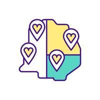 mapa dividido em áreas com ícones coloridos de sinais de amor