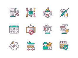 recuperação econômica após conjunto de ícones de cores de quarentena vetor
