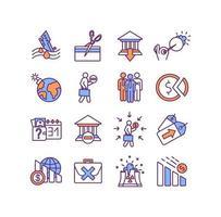 conjunto de ícones de cores da crise mundial vetor