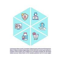 ícone do conceito de farmácia online com texto vetor