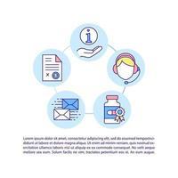 ícone de conceito de suporte ao cliente de drogaria com texto vetor