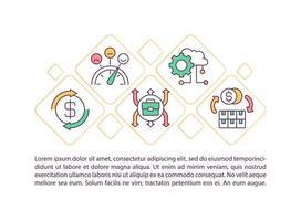 ícone do conceito de recuperação econômica com texto vetor