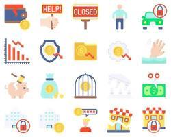 ícone de vetor relacionado à falência definido estilo simples