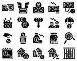 ícone de vetor relacionado a falência definido estilo sólido