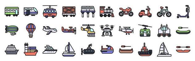 transporte relacionado conjunto de ícones de vetor