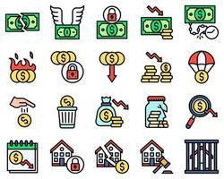 conjunto de ícones vetoriais relacionados à falência, estilo preenchido vetor