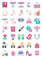 conjunto de ícones planos relacionados ao dia internacional da mulher vetor
