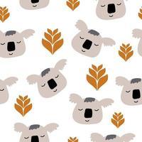 panda escandinavo sem costura de fundo, feliz panda fofo e folhas tropicais, ilustração vetorial de ursos de panda dos desenhos animados para fundo branco de crianças.