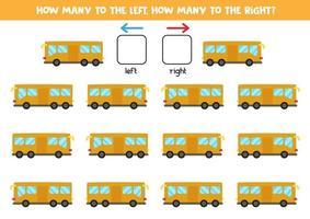 esquerda ou direita com ônibus. planilha lógica para pré-escolares. vetor