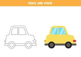 rastreamento e cor do carro dos desenhos animados. planilha de espaço para crianças. vetor