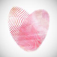 Corações de impressão digital em aquarela vetor