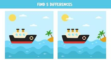 encontre 5 diferenças entre as imagens. navio e paisagem do mar. vetor