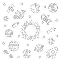 planetas do sistema solar de cores e astronauta. folha de colorir para crianças. vetor