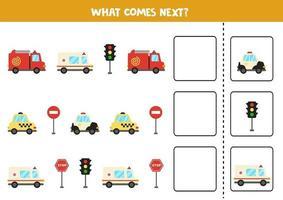 o que vem a seguir jogo com transporte de desenho animado. vetor