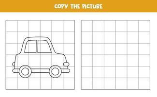 copie a imagem do carro de desenho animado. jogo lógico para crianças. vetor