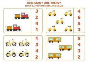 jogo de matemática. conte todos os meios de transporte. jogos temáticos de transporte. vetor