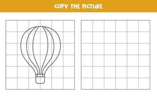 copie a imagem do balão de ar quente. jogo lógico para crianças. vetor