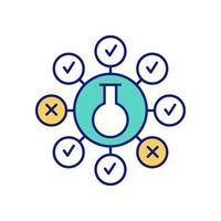 método científico e ícone de cor de teste de hipótese