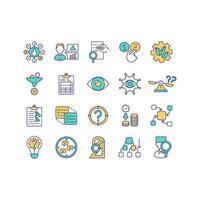 elementos do conjunto de ícones de cores de pesquisa científica
