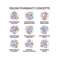 Conjunto de ícones de conceito de farmácia online