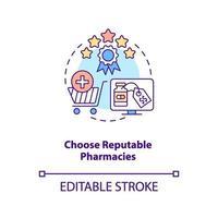 escolha o ícone do conceito de farmácias respeitáveis