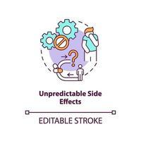 ícone do conceito de efeitos colaterais imprevisíveis