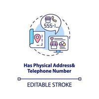 tem endereço físico e ícone de conceito de número de telefone