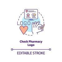 verificar o ícone do conceito de logotipo de farmácia