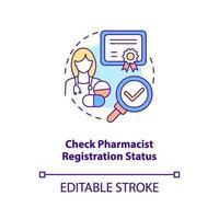 verificar o ícone do conceito de status de registro de farmacêutico