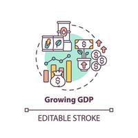 crescente ícone do conceito de gdp vetor